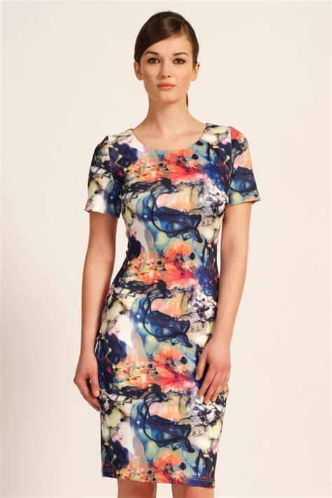 Abstrak Dress multi colour abstract printed bodycon dress