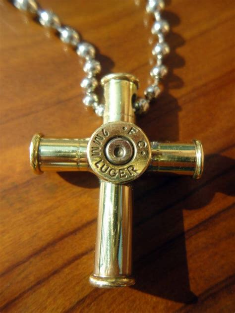 Bullet Cross Pendant Necklace bullet casing cross pendant necklace small