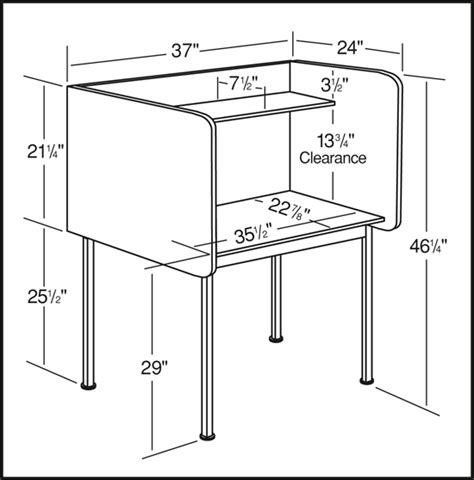 Study Desk Dimensions by Smith Carrel Study Carrel Single Unit Fixed Height
