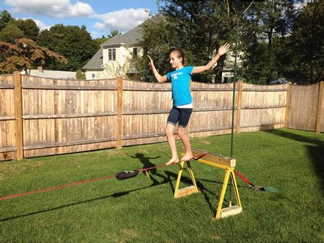 backyard slackline without trees backyard slackline set up no trees or cement youtube