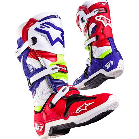 tech 3 motocross boots new alpinestars mx tech 10 mxon le nations red blue fluro