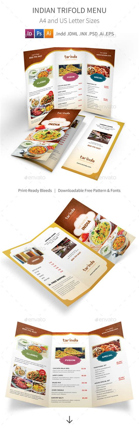 Indian Restaurant Trifold Menu By Mike Pantone Graphicriver Indian Menu Template Free