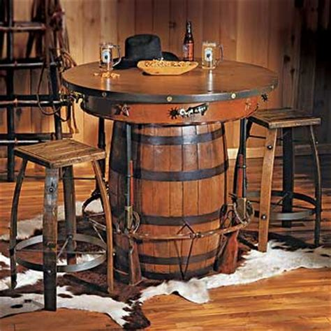 Barrel Kitchen Table Cowboy Western Pub Table And Bar Stools Rustic Western Sty Flickr