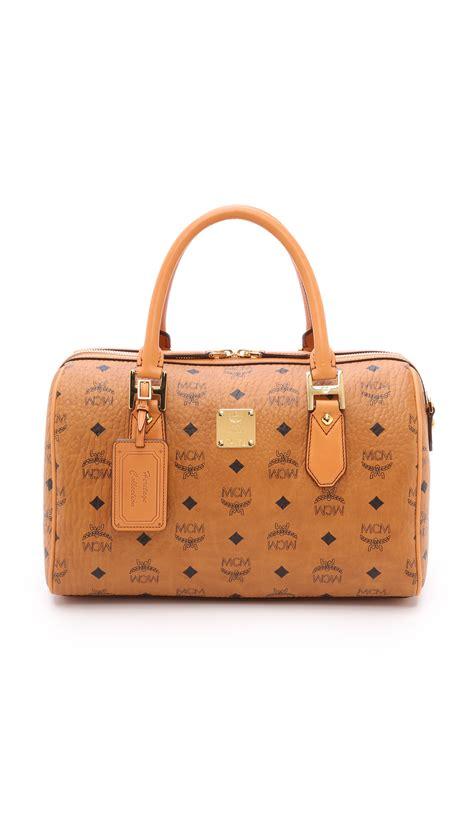 mcm medium boston bag cognac in brown lyst