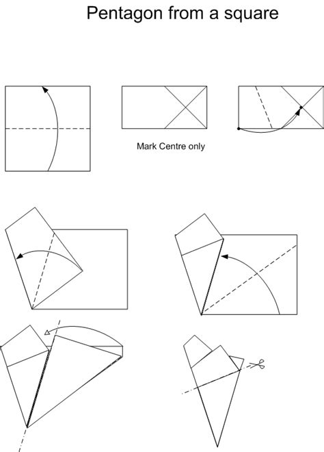 Origami Pentagon - how to get different paper shapes for origami models