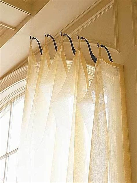 Hangers For Curtains Genius Idea For Shaped Sized Windows Hooks Instead Of A Rod Windows Treatments