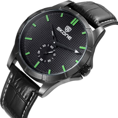 Skone Casual Leather Water Resistant 10m 9307 Black skone casual leather water resistant 10m