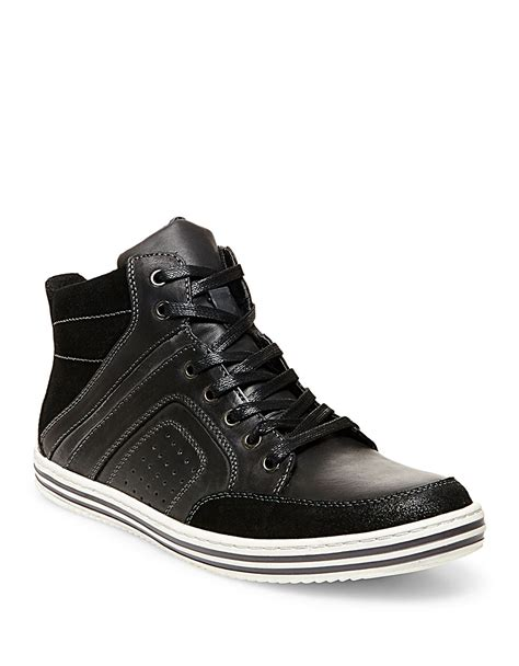 steve madden ristt leather hi top sneakers in black for