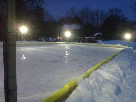 backyard rink lighting outdoor lighting around custom back yard ice hockey rink