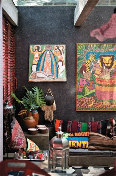bohemian colors tuvalu home colorful fun boho room with dark walls and lots of art