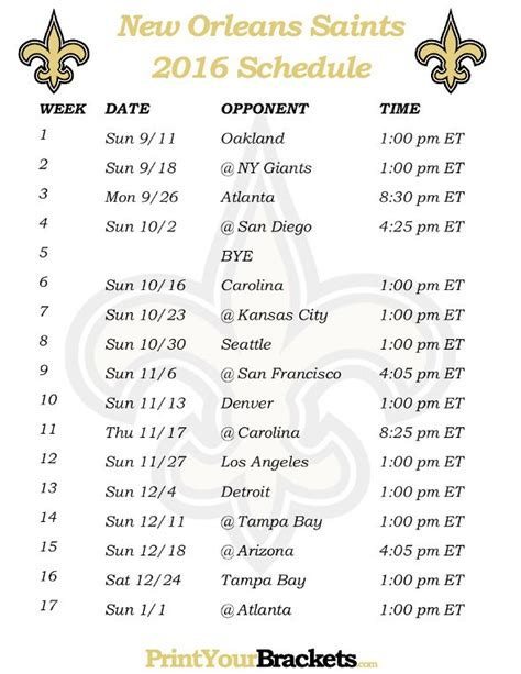 printable nfl game schedule printable new orleans saints schedule 2016 football
