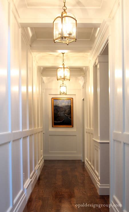 Pendant Lighting For Hallway Wall Wainscoting Transitional Entrance Foyer Opal Design