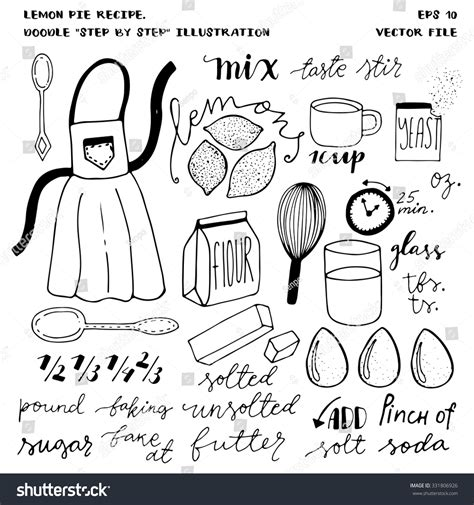 doodle recipe set handdrawn doodle vector elements illustrated stock