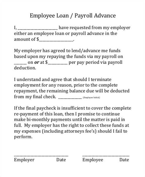 payday loan agreement template employee advance form employee advance form sle