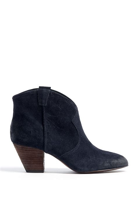 ash midnight navy brushed suede jalouse ankle boots in