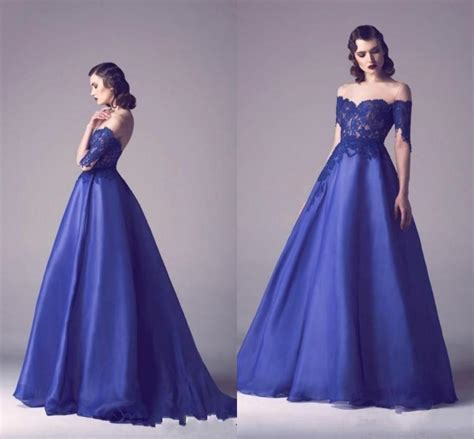 Prom Dresses In Colors Red Black Blue Prom | fashion royal blue evening dresses 2016 off shoulder lace