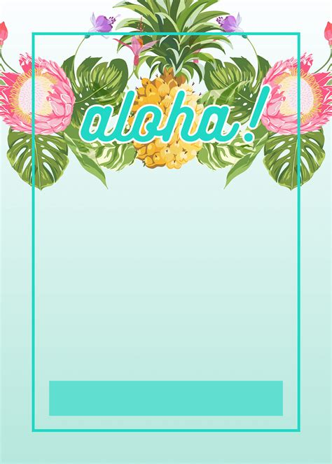 Luau Wedding Invitation Template by Pineapple Luau Perimeter Free Printable Birthday