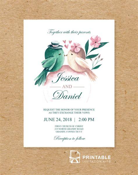 printable invitation kits wedding watercolor birds 2018 wedding invitation template
