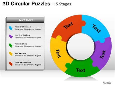3d circular puzzles 5 stages powerpoint presentation templates