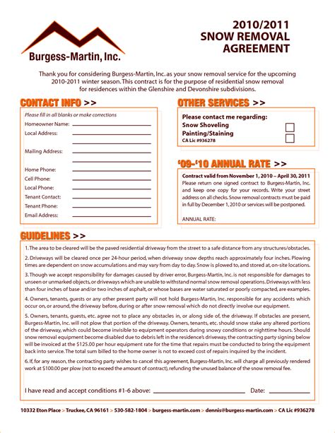 8 Snow Removal Contract Template Timeline Template Snow Removal Contract Template