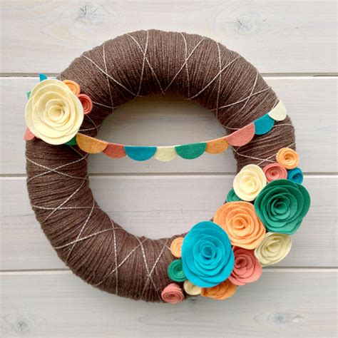 Handmade Door Decorations - yarn wreath felt handmade door decoration festival 12in