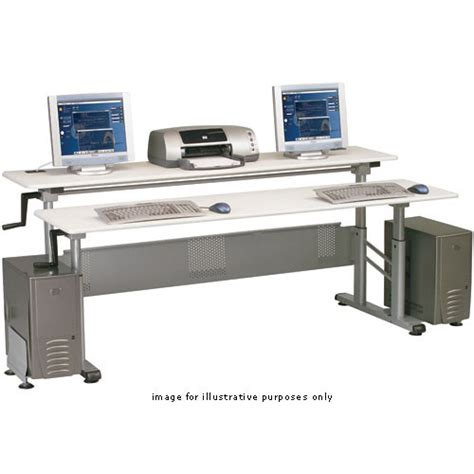 balt crank workstation dual desk model 89091 gray