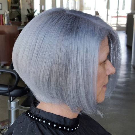 silver hair jaw length 21 a line bob haircut ideas designs hairstyles