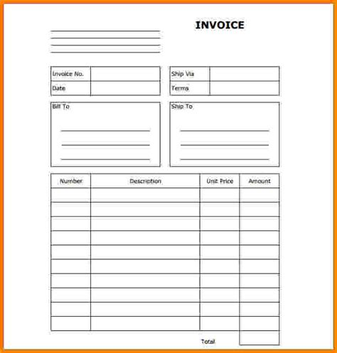 10 fill in the blank invoice short paid invoice