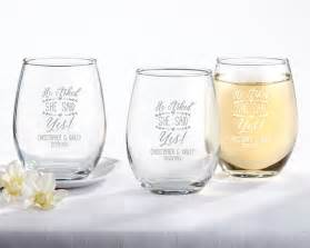 Wedding Favors Stemless Wine Glasses by Personalized 9 Oz Engagement Stemless Wine Glass