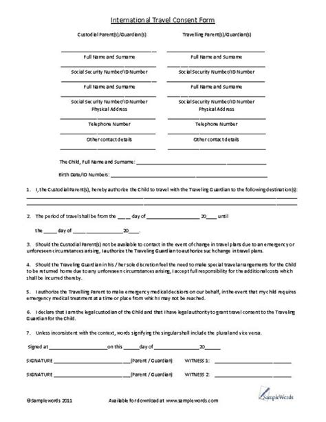 child international travel consent form stony child and