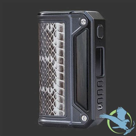 snake skin therion dna 75c box mod black frame with wood inlay by lost vape regulated devices