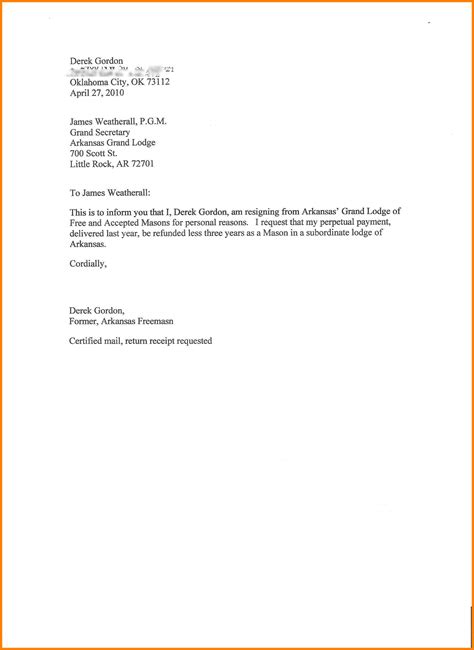 letter of resignation template 10 standard resignation letters officeaz 1424