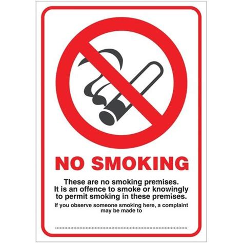 no smoking sign a4 size no smoking compliant sign pvc a4 ref scp002pp scp002pp