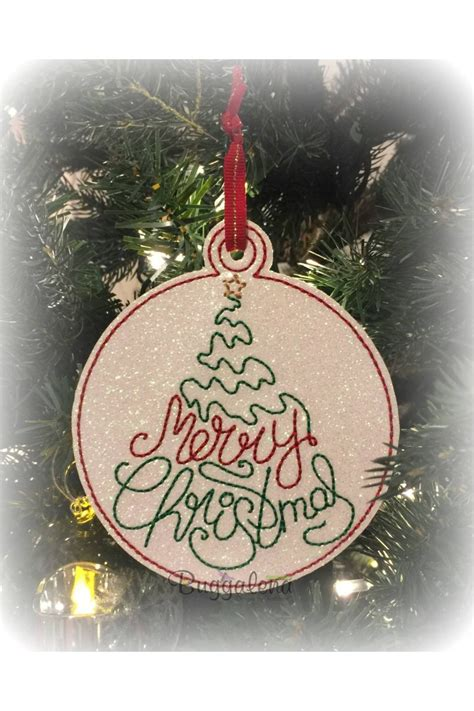merry christmas tree word ornament embroidery design ith