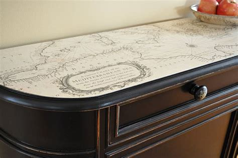 Decoupage Desk Top - how to use maps in home decor