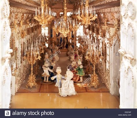 dancing doll house french renaissance themed dollhouse ballroom with dancing people stock photo royalty