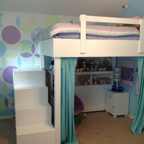 loft bed curtains how to make loft bed with stair dresser and curtain reading nook