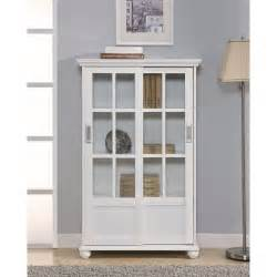 Glass Door Bookshelves Altra Bookcase With Sliding Glass Doors White At Hayneedle