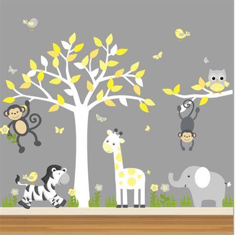 nursery wall stickers jungle jungle nursery decal nursery tree decal jungle animal decal monkeys zebra giraffe