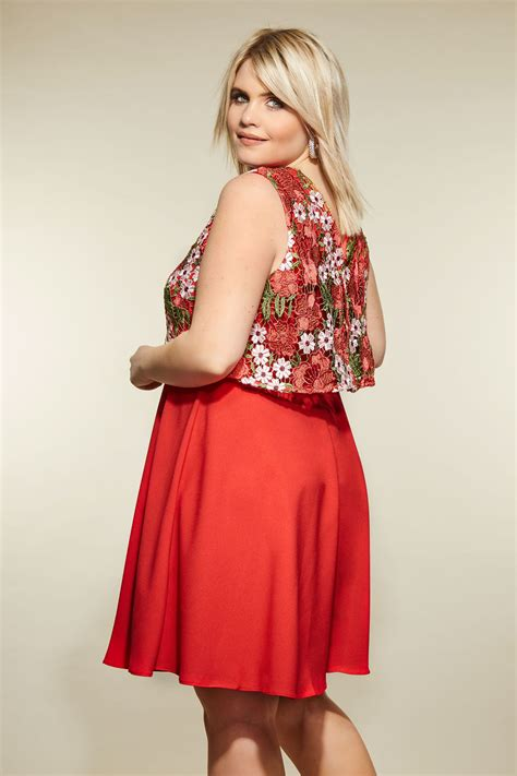 add background image to div lovedrobe floral crochet overlay dress plus size 16 to 32