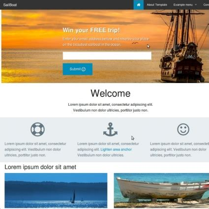 foundation 5 reasponsive website template sailboat free