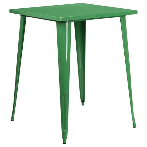 green metal outdoor table 31 5 square bar height green metal indoor outdoor table