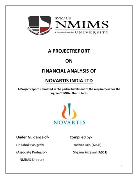 Mba Project Report On Analysis Of Advertisement by A Project Report On Financial Analysis Of Novartis India 1