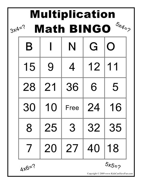printable games algebra multiplication math bingo game http www kidscanhavefun