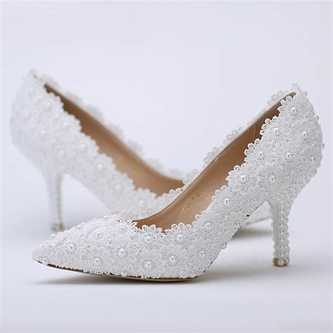 flower shoes davids bridal pointed toe wedding shoes white lace flower with ivory