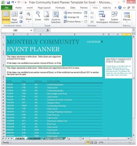 Free Community Event Planner Template For Excel Event Planning Template Excel