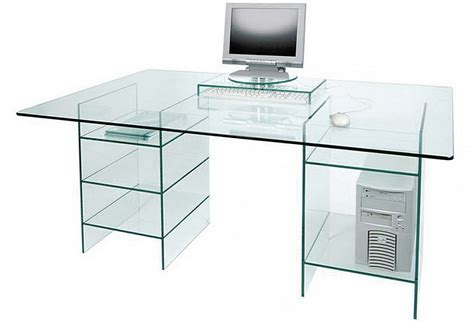 Glass Computer Desk Glass Computer Desk With Shelves Clear Glass Table Minimalist Desk Design Ideas