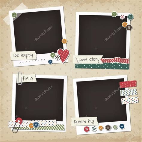 design free st online scrapbook vintage set of photo frames with buttons