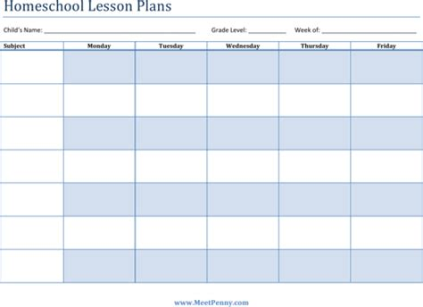Download Printable Lesson Plan Templates For Free Formtemplate Homeschool Lesson Plan Template