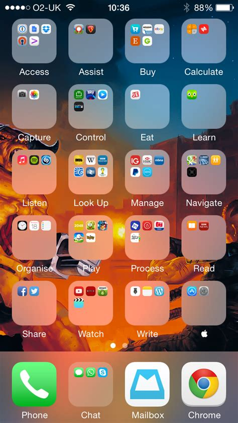 verb based iphone home screen layout simon says